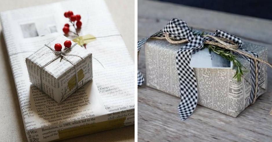 impachetare cadouri cu hartie de ziar