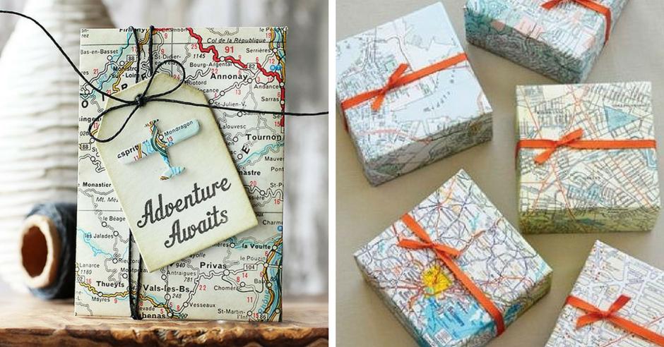 impachetare cadouri forma de harta